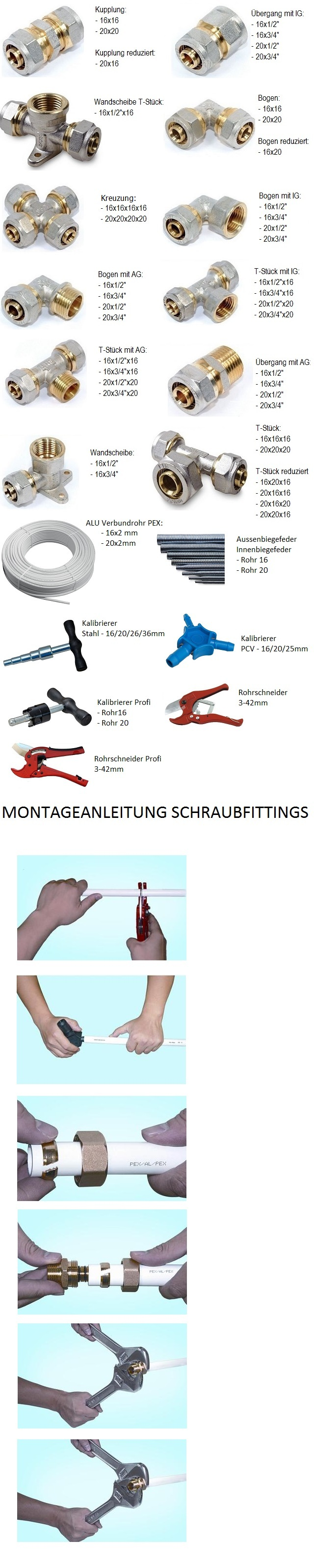 Klemmring T-Stück AG Verbundrohr Klemmringverschraubung PEX Aluverbundrohr 16-32