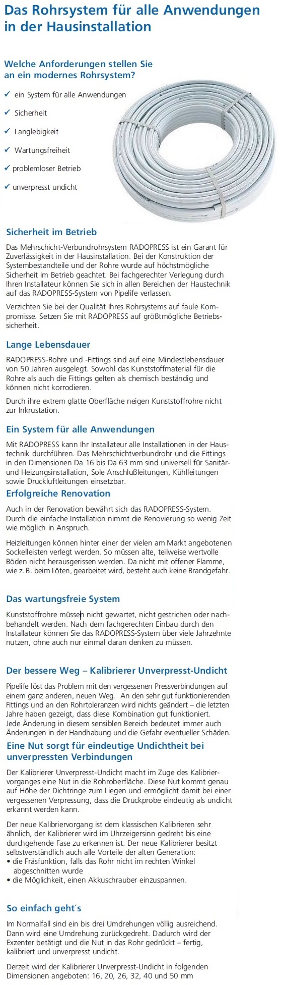 50m ALU Verbundrohr 26 x 3 mm PE-X PipeLife DVGW Grundpreis 2,40€//m PEX